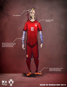 Fifa World Cup 2014 Amazing Football Player Illustrations - Raul Meireles, Portuga