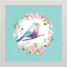 Quadro Birds Turquoise Lilac - Coleção Aquarela