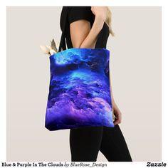 Blue & Purple In The Clouds Tote Bag Yoga Accessories, Printed Tote Bags, Artwork Design, Edge Design, Clutches, Purple, Blue, Clouds, Leggings