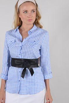 Panel bis chemise m3/4 roul - Antonelle Réf :  17CH1936 Chemise femme PANEL BIS, coupe cintrée, col simple, manches longues, à motif carreaux vichy. A associer avec un jeans ou un pantalon en coloris coordonné pour un style BARDOT très sixties.  la ceinture en cuir est vendue séparément. #Antonelleparis  #clothing #obi #bleu #carreau #blanc  #lookoftheday #chemise #ceinture   #womenswear #fashion #instashop  #ss17
