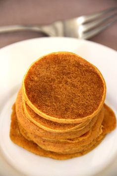 Small Batch pumpkin pie pancakes. Perfectly spiced.  Recipe Makes 1 serving of silver dollar sized pancakes (easily doubled or tripled)