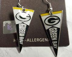 NFL Green Bay Packers Pennant Silver Dangle Earrings