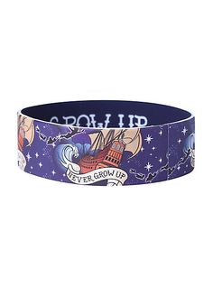 Disney Peter Pan Never Grow Up Rubber Bracelet Rubber Band Bracelet, Rubber Bracelets, Bangle Bracelets, Peter Pan Jewelry, Alice In Wonderland Dress, Peter Pan Disney, Disney Jewelry, Stuff And Thangs, Disney Dresses