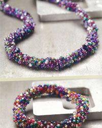 This free beaded crochet pattern is fabulous!  Crocheted Necklace & Crochet Bracelet Pattern: Classic and Not-So-Classic Bead Crochet Rope and Bracelet