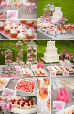 Ultimate dessert bar. Love the idea of flower deccorations and glasses of punch and also goodie bags/boxes and color themed rock candy