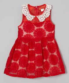 Take a look at this Red Floral Lace Collar Dress - Toddler & Girls on zulily today!