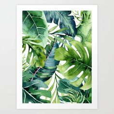 Tropical Jungle Leaves Mini Art Print by Amy Peterson Art Studio - Without Stand - x Tropical Art, Tropical Leaves, Tropical Paintings, Watercolor Leaves, Watercolor Paintings, Painting Leaves Acrylic, Canvas Art, Canvas Prints, Painted Leaves