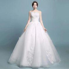 Elegant white strapless wedding dress, sexy lace veneer