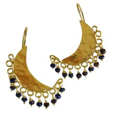 Emmanuela.gr - Handmade Jewelry - Handmade Gold Plated Crescent Moon Earrings With Blue Spinel Stones.