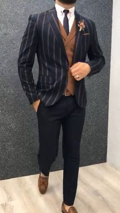 Abboud Taba & Navy Combined Slim Suit is part of Mens fashion - Blazer Outfits Men, Mens Fashion Blazer, Stylish Mens Outfits, Suit Fashion, Rugged Fashion, Men Blazer, Dress Suits For Men, Mens Suits, Trendy Suits For Men