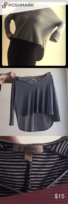 Wide Cut Dolman Style Striped Sweater Gently used/worn with no flaws. For reference model is 5'6 size 2-4. Soft stretchy Henley type material. Super comfy! bordeaux Tops Tees - Long Sleeve