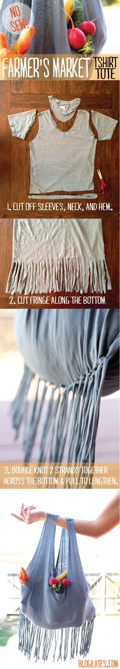 so easy! Love this idea for favorite unwearable shirts  http://www.blogilates.com/blog/2013/09/22/diy-farmers-market-tote-no-sew-reusable-bag/