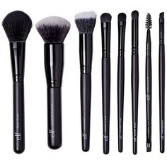 Forever21 e.l.f. Luxe Brush Collection ($22) ❤ liked on Polyvore featuring beauty products, makeup, makeup tools, makeup brushes, black, angled contour brush, forever 21 makeup brushes, contour makeup brush, blender brush and slanted makeup brush
