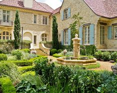Enchanting Tuscan Window Shutters : Traditional Landscape Stone House With White Trim Blue Shutters Water Fountain Peal Gravel Balcony And Stone Brick