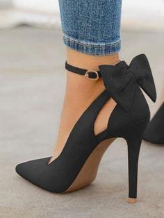 2e60e315ad776 Chaussures à talons hauts avec noeud papillon mode élégant femme escarpin  noir - PROMOTIONS