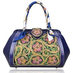 PIJUSHI Women's New Fashion Handmade Designer Leather Carving Top Handle Handbags D1003 (One Size, BLUE/GREEN) Was: $777.15 Now: $349.72