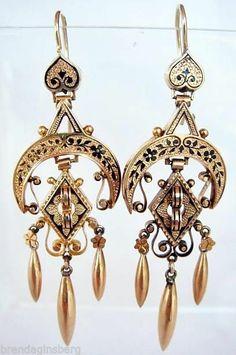 Antique Victorian Long Gold Black Enamel Earrings Mourning Ear Pendants (#4601)
