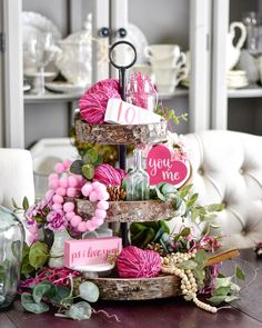 Decor Using Tiered Trays, Farmhouse Signs and Rae Dunn - Decorating for Valentines Day is so much fun. Today I am bringing you the best of the best from Ins -Valentines Decor Using Tiered Trays, Farmhouse Signs and Rae Dunn - Decorating for Valentines. Valentines Day Party, Valentines Day Decorations, Valentine Day Crafts, Valentine Ideas, Seasonal Decor, Holiday Decor, Tray Styling, Tiered Stand, Valentine's Day Diy
