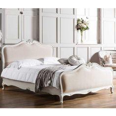 Chalk Linen Upholstered Bed by Frank Hudson - French Bedroom Beds