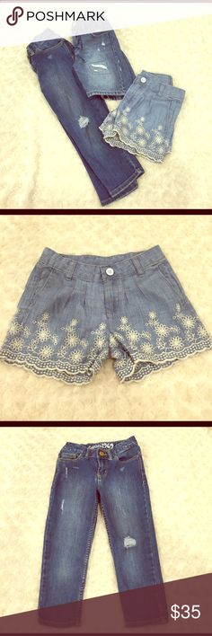 Gap kids denim bundle One pair of capris, Bermuda style shorts, and embroidered flower shorts. All have adjustable waist GAP Bottoms