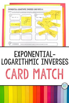 Encourage connections between multiple representations of exponential and logarithmic inverse functions! I like how this activity has an alternate worksheet version for those periods that just can't handle cutting and pasting. Laminating and reusing works great too! #algebra2 #exponential #inverses Algebra 2 Activities, Algebra 2 Worksheets, Algebra 1, Math, Inverse Functions, Logarithmic Functions, Lesson Plans, Keys, Handle