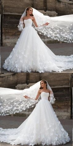 Beautiful Wedding Dresses with Long Train Sweetheart Butterfly Simple Bridal Gow. - Beautiful Wedding Dresses with Long Train Sweetheart Butterfly Simple Bridal Gown – Source by bibinoreikat – Butterfly Wedding Dress, Wedding Dress Train, Sweetheart Wedding Dress, Long Wedding Dresses, Princess Wedding Dresses, Bridal Dresses, Modest Wedding, Flowery Wedding Dress, Butterfly Costume