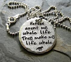 Sterling Silver Hand Stamped Horse Quote by EquineExpressionsbyD, $52.00