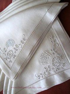 Vintage Linen Monogram Napkins, Broderie Anglaise Whitework, Embroidered.