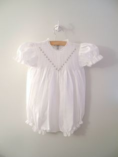 1970's+White+Lace+Hand+Smocked+Rosette+Romper+by+BabyTweeds,+$40.00