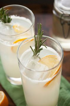Meyer Lemon Rosemary Gin Fizz by Isabelle @ Crumb Gin Fizz Cocktail, Cocktail Drinks, Cocktail Recipes, Drink Recipes, Summer Drinks, Fun Drinks, Alcoholic Beverages, Party Drinks, Cocktail