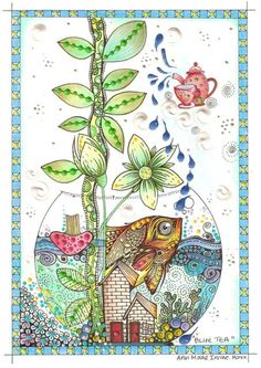 Animals, Birds & Fishes teapots ocean round circle zentangle blue green plants organic