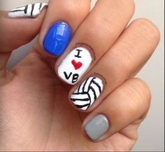 Perfect Team Spirit Nails Best On The Volleyballpride Volleyball Nail Artvolleyball