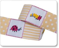 Gold Patchwork Bugs Ribbon