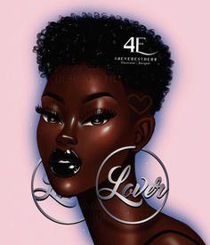 Black Girl Cartoon, Black Girl Art, Black Women Art, Beautiful Black Women, Black Girl Magic, Art Girl, Black Art Painting, Black Artwork, Drawings Of Black Girls