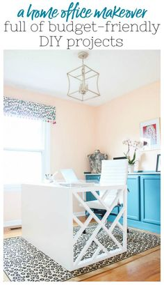 Home Office Makeover with Budget-Friendly DIY Projects that Look High-End: An Office Makeover on a Budget with lots of Office DIY Decor #officedecor #officeideas #officediydecor via @rainonatinroof