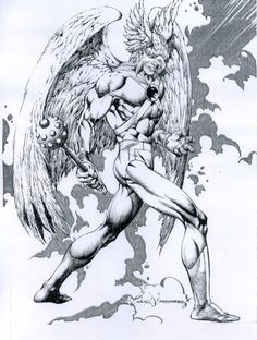 Hawkman by Rudy Nebres, Inked Comic Art