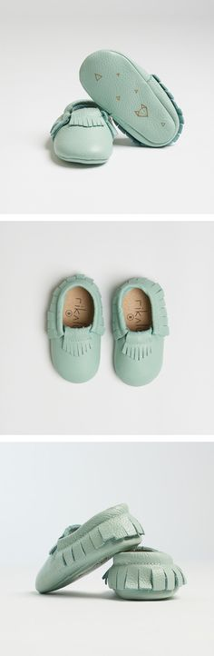 """Genuine Baby Leather Moccasins Teal """"Nuna"""" - featuring geometric fox design - Christmas gift for baby"""