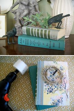 """DIY INDOOR GARDEN / BOOK CRAFTS :: DIY Vintage Book Planter ::    Simply hot glue the two books together, mark where you want your hole and using a 3"""" drill bit -- drill away!  Do take it SLOW & easy.  Then use an empty sour cream container to pot your little plants  after you slip it in the hole, mark it & cut it off to fit! Remember to put gravel in the bottom of the container since there are no drainage holes! 
