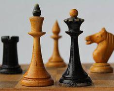 Soviet chess set, vintage wooden chess set USSR.