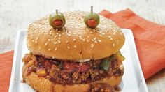 Super Simple idea for a #Halloween Dinner. #SloppyJoes are so delicious. See main dish, drinks and dessert recipes just for Halloween!