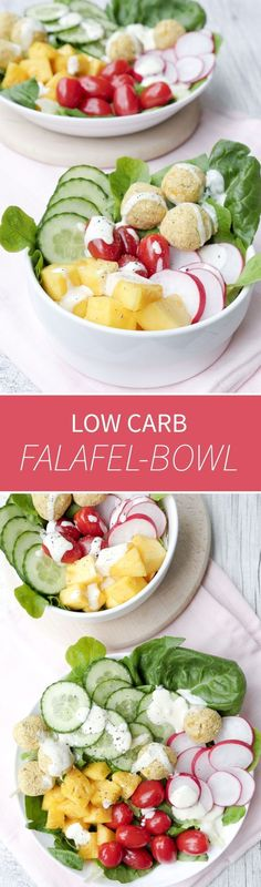 Low Carb Falafel-Bowl mit frischer Ananas, Gurke, Tomaten und Radieschen - vollgepackt mit gesunden Zutaten, schnell gemacht und richtig lecker - Gaumenfreundin Foodblog #salatbowl #salatrezepte #falafel #lowcarbfalafel #falafelbowl #gesunderezepte #weigh
