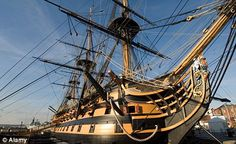 HMS Victory in Portsmouth Harbor.