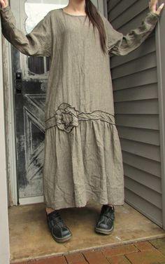 Stripe Linen Long Flower Dress M by sarahclemensclothing on Etsy, $169.00