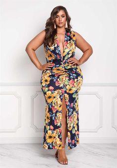 Plus Size Clothing   Plus Size Plunge Floral High Slit Maxi Dress   Debshops