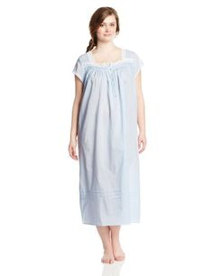 ccb2f932856 Eileen West Women s Plus-Size 50 Inch Cap Sleeve Cotton Lawn Solid Gown