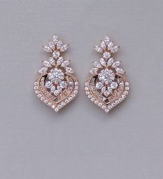 Rose Gold Crystal Bridal Earrings, Marquise CZ Statement Wedding Jewelry Rose Gold, Taylor RGC - Another! Gold Chandelier Earrings, Gold Bridal Earrings, Gold Wedding Jewelry, Rose Gold Earrings, Crystal Earrings, Gold Jewelry, Gold Weddings, Vintage Jewelry, Ruby Jewelry