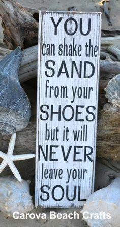 ~ Made me think of Maine ~ You Can Shake The Sand From Your Shoes - Beach Sign Weathered Rustic Distressed Beach Decor Coastal Wood Wall Hanging Beach House Home via Etsy I Need Vitamin Sea, Beach Quotes, Ocean Quotes, Seaside Quotes, Ocean Sayings, Summer Sayings, Nautical Quotes, I Love The Beach, Your Soul