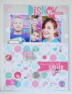 a reason to smile | bella blvd. - Scrapbook.com - Back a die cut pattern with various patterned papers for a fun colorful look!