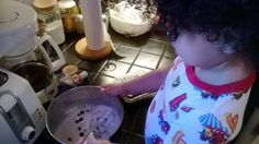 Making Pancake or Waffle Batter. This is an easy cooking project for a toddler. Measuring and mixing the ingredients for a pancake batter and adding whatever fruits they like.