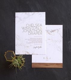marble and wood wedding invitations